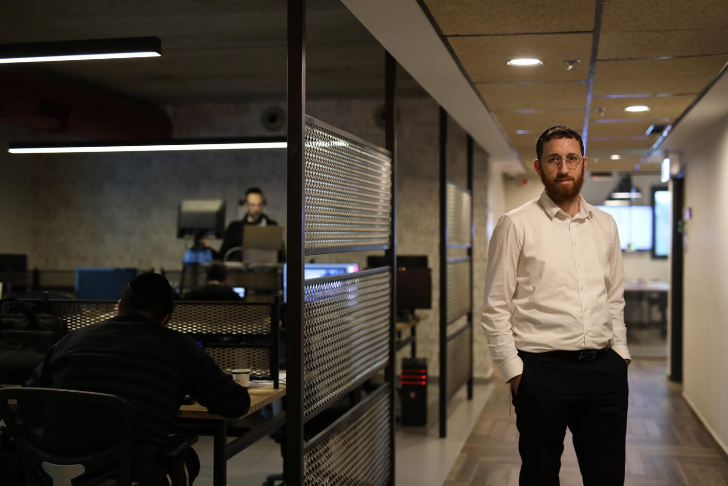 Portrait of Yitzik Crombie, CEO of Bizmax, a coworking space for ultra-orthodox Jewish men, in Jerusalem, Israel, February 28, 2019.