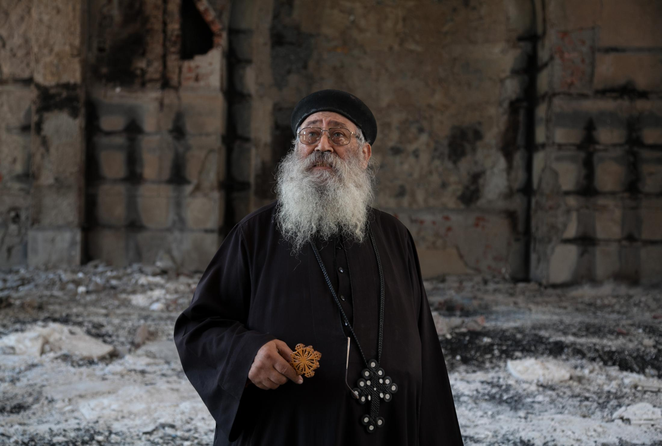 Al-Anba Mousa church in Minya was attacked by groups of men on August 14, 2013, who were pro-Morsi supporters. Father Samuel Aziz Abdou's home which is next to the church came under attack the same day. His home was set fire leaving him and his family with no home.