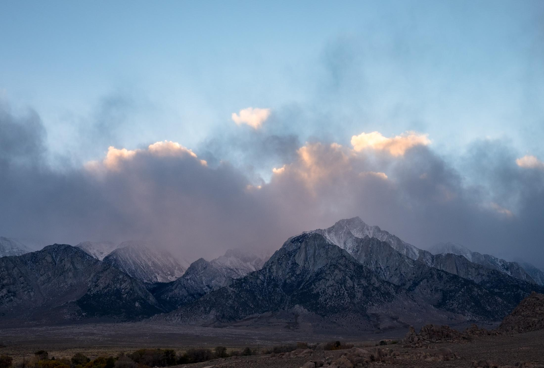 2. Mt, Whitney as a snow storm is crossing.