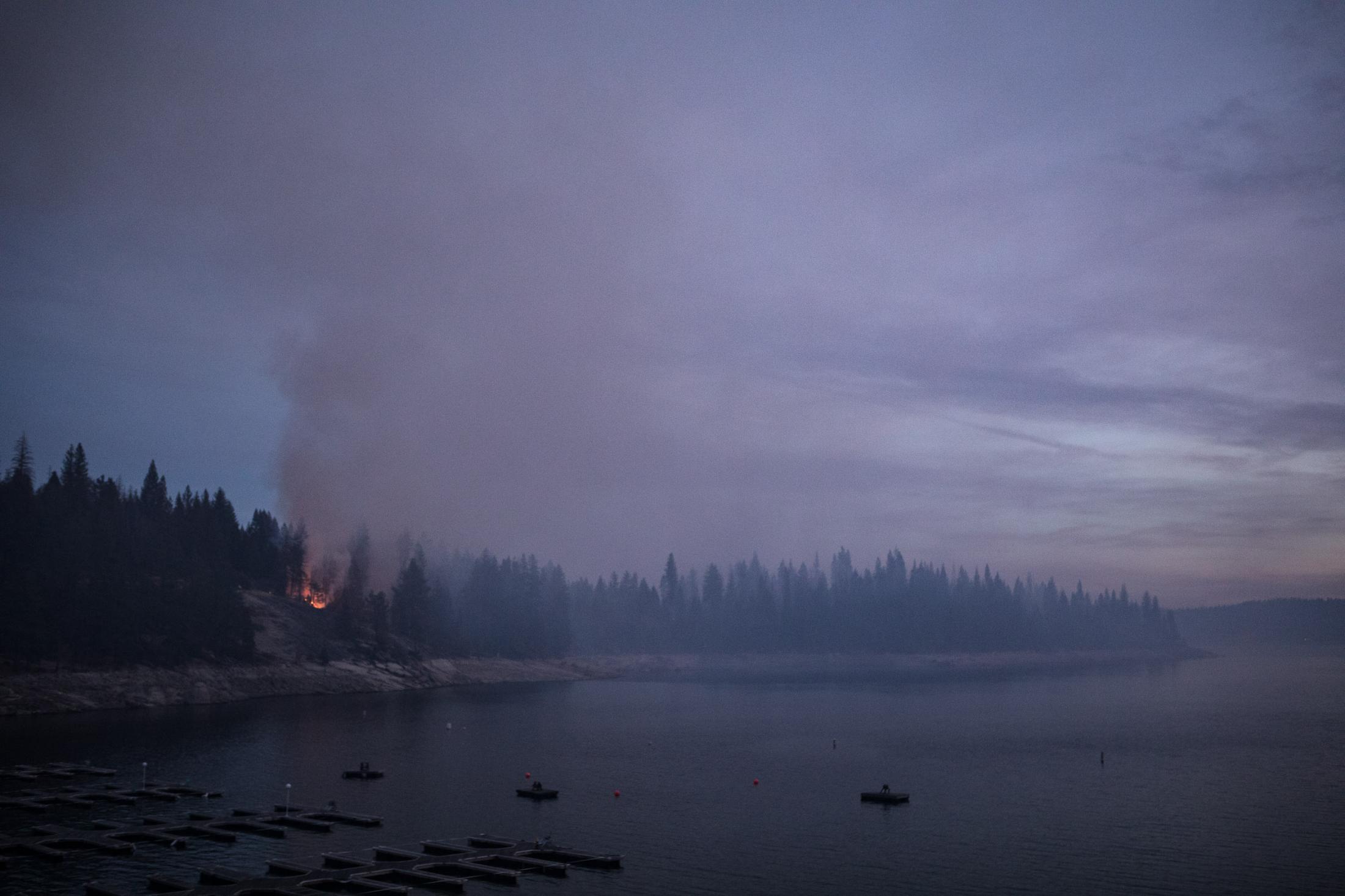 6. Fire reflecting in Shaver Lake. Nov 2017