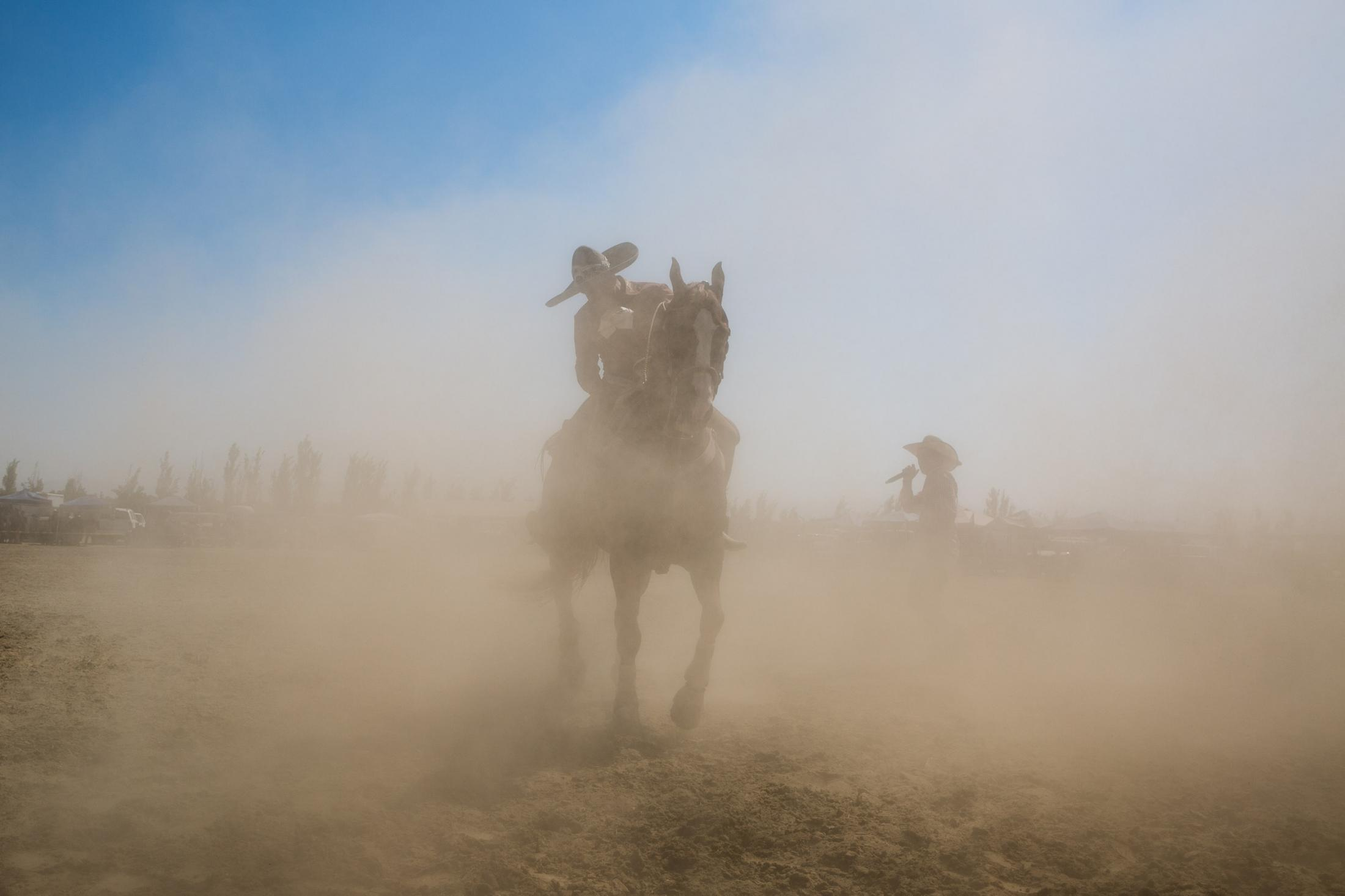 10. Horse rider in dust. Central Valley Aug 2016