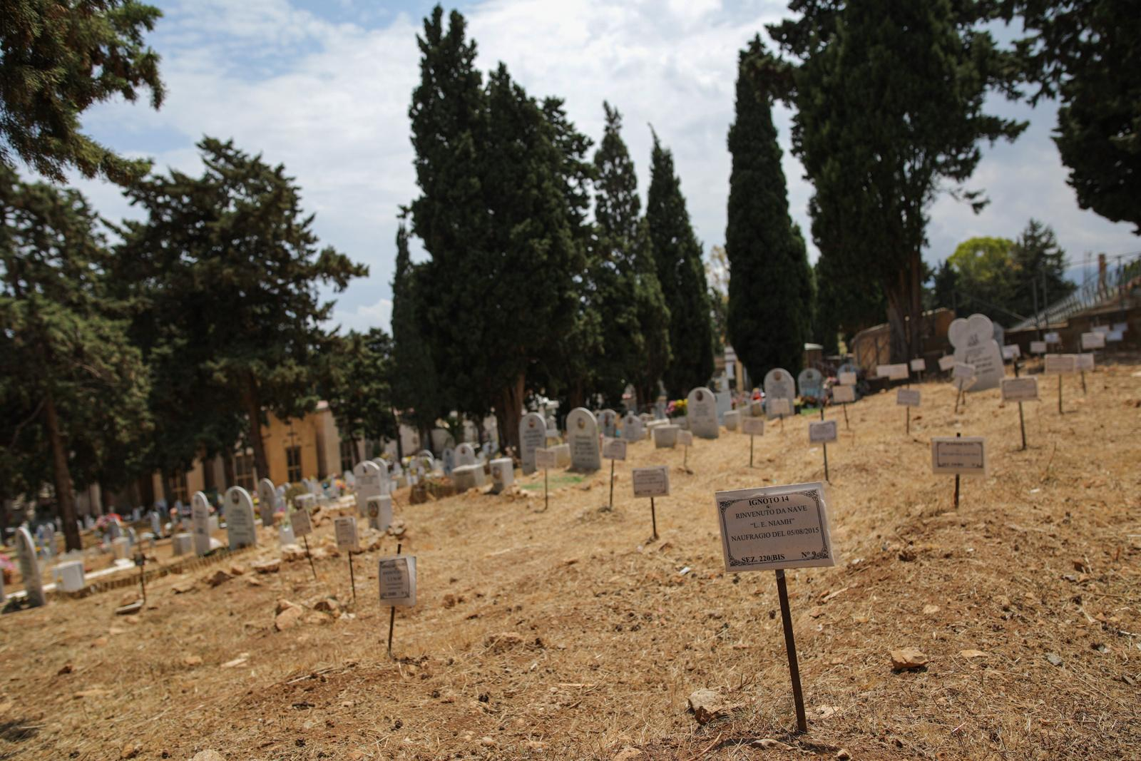 The department of migrants who died during the crossing of the Mediterranean Sea on the Graveyard Santa Maria dei Rotoli in Palermo, Sicily, Italy, June 06, 2017. The Central Mediterranean route is the world's deadliest migration route. Of the estimated 3,080 people that have died or gone missing while trying to reach Europe by sea via the three Mediterranean routes until end of November 2017, over 94% of deaths have occurred from North Africa to Italy, according to UNHCR. Over 117,000 refugees and migrants arrived in Italy by sea in 2017, about 32% less compared to 2016.