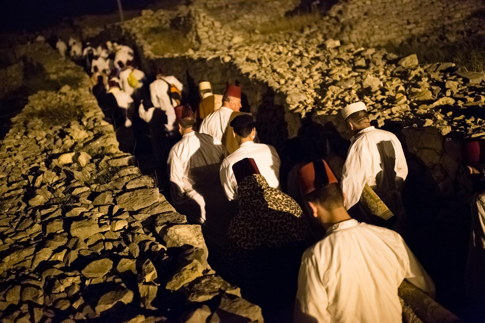 NABLUS, PALESTINIAN TERRITORIES - APRIL 27, 2016: Samaritans take part in a pilgrimage marking the holiday of Passover at Mount Gerizim on the outskirts of the West City of Nablus April 27, 2016. The Samaritan religion is descended from the ancient Israelite tribes of Menashe and Efraim, and the community numbers today around 700 people, half at Mount Grizim in the West Bank and the others in Holon near Tel Aviv in Israel.