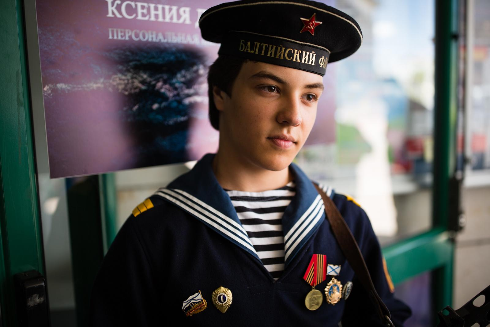 ASHDOD, ISRAEL - MAY 07, 2016: A boy wearing a navy uniform takes part in an event in remembrance of the upcoming Victory Day, marking the anniversary of the Allied victory over Nazi Germany, in the southern city of Ashdod, Israel, May 7, 2016.