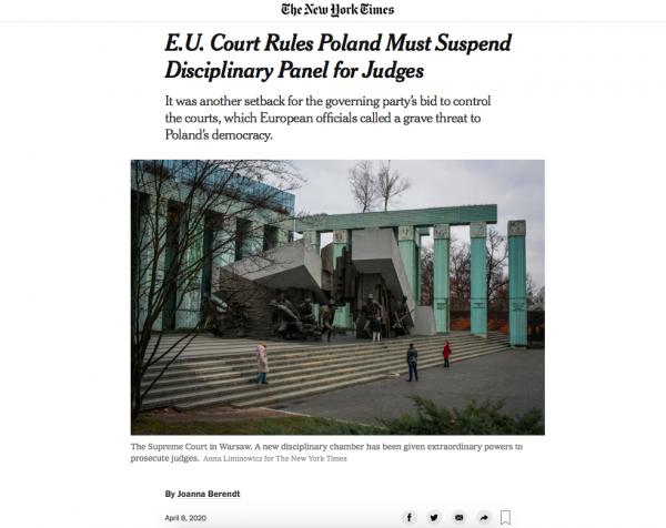  E.U. Court Rules Poland Must Suspend Disciplinary Panel for Judges 