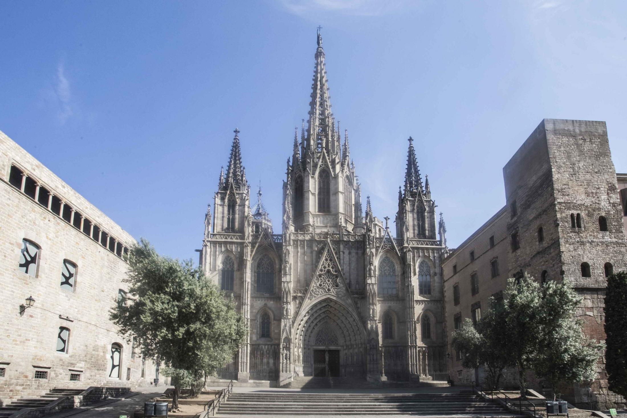 April 10, 2020 - Barcelona, Spain: HOLY FRIDAY at 5:00 pm, in the Cathedral of Barcelona, the Passion of the Lord is celebrated directly and on television without devotees in the Curch