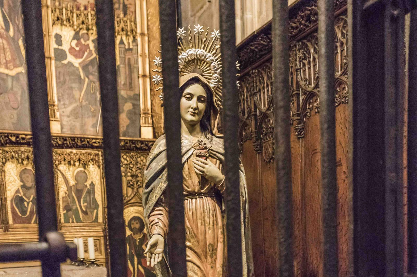 April 10, 2020 - Barcelona, Spain: HOLY FRIDAY at 5:00 pm, in the Cathedral of Barcelona, the Passion of the Lord is celebrated directly and on television without devotees in the Curch.