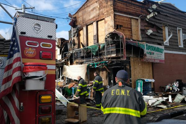 Aftermath of four-alarm fire in Ozone Park, Queens