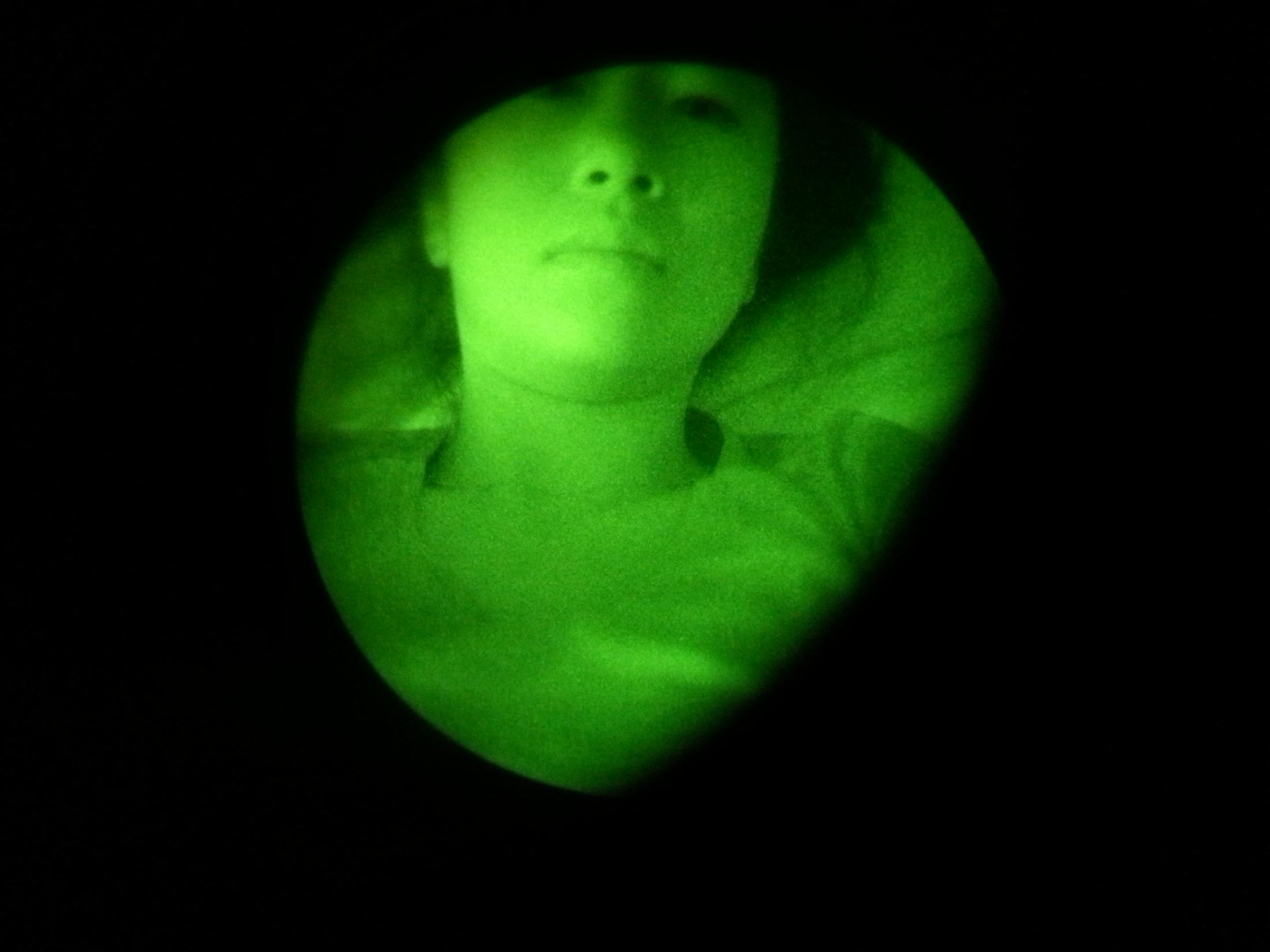 Self portrait with John's night vision goggles, Fort Irwin, CA