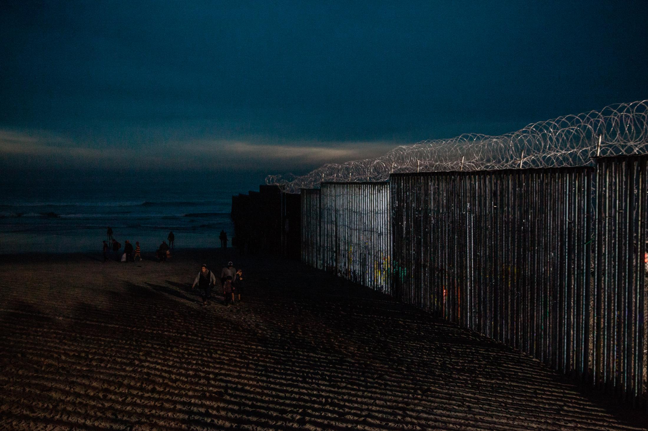 Playas de Tijuana on December 9, 2018. At night the beach is lit up with lights from the U.S. side to help Border Patrol find people trying to cross illegally.
