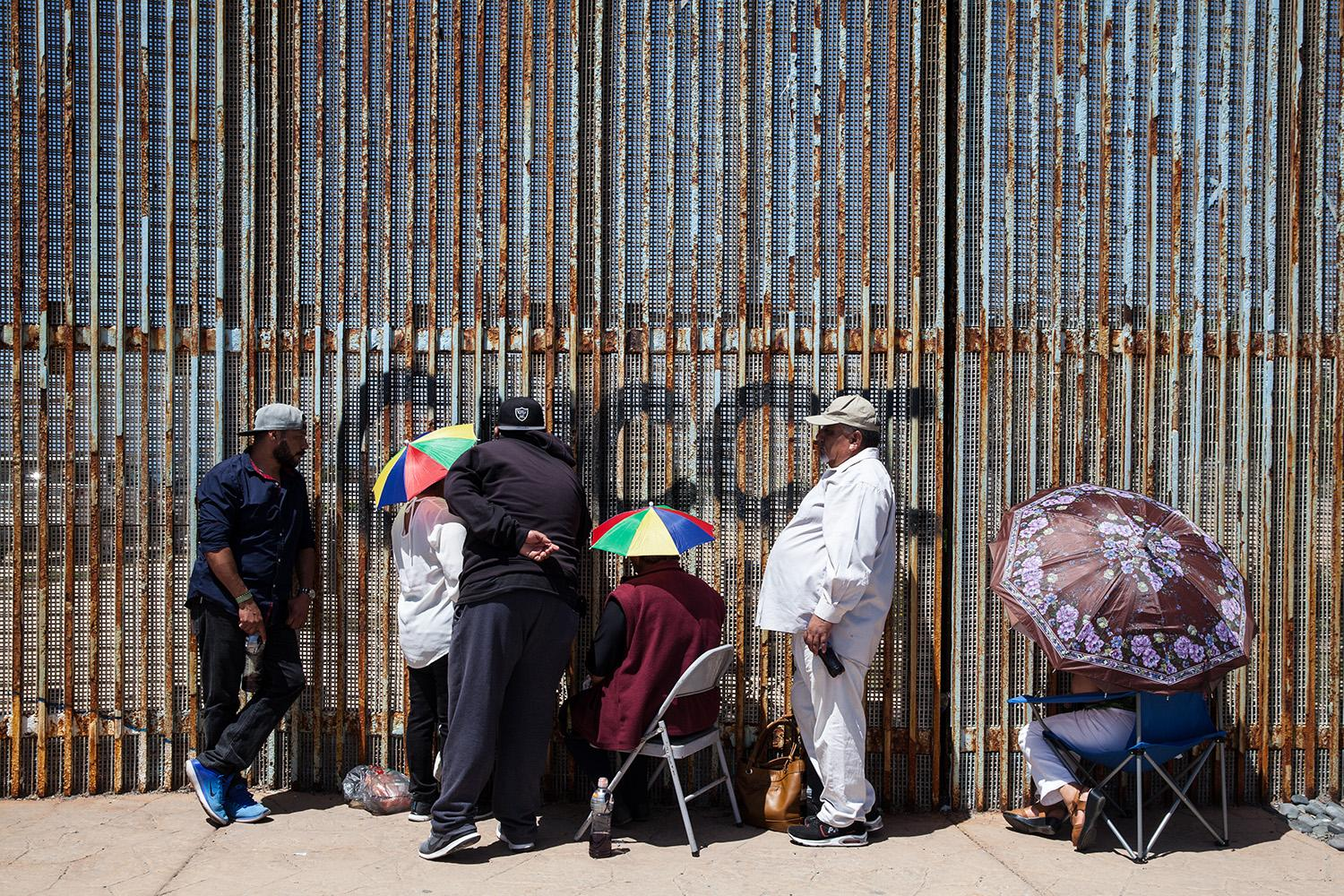 Families at the border fence in Playas de Tijuana, Mexico visit loved ones that are living in the United States.