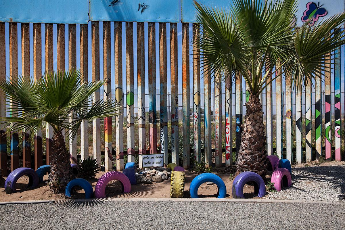 Part of the binational garden with native plants is maintained on both sides of the border fence between Tijuana, Mexico and United States. On the Mexican side.