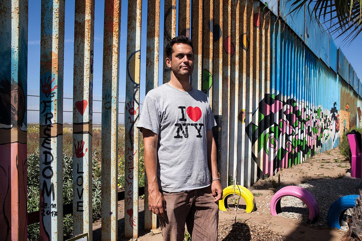 There is a binational garden on the U.S. and Mexican side, It has three circles: two that are about ten feet in diameter and one that is about thirty feet in diameter. Dan Watman created the binational garden. Dan stands in the garden in Playas de Tijuana, Mexico.
