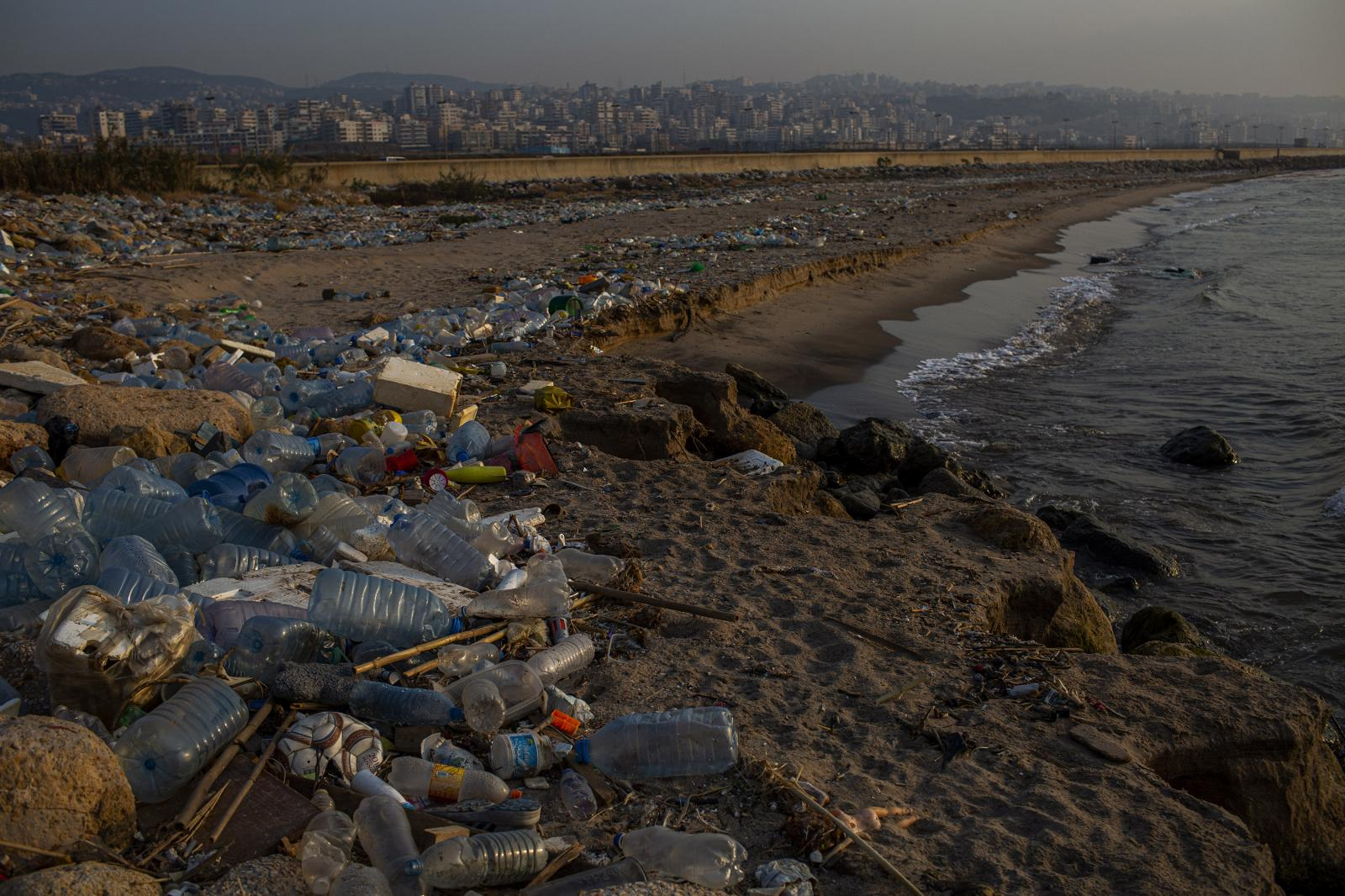 Beirut, Lebanon. November 9th, 2019. A beach flooded with garbage in Ouzai, on the outskirts of Beirut. The garbage problem has long been a symbol of a failure of Lebanese politics, one that activists say has its roots in the time shortly after the country's civil war, which ended in 1990. Diego Ibarra Sánchez for THE NEW YORK TIMES