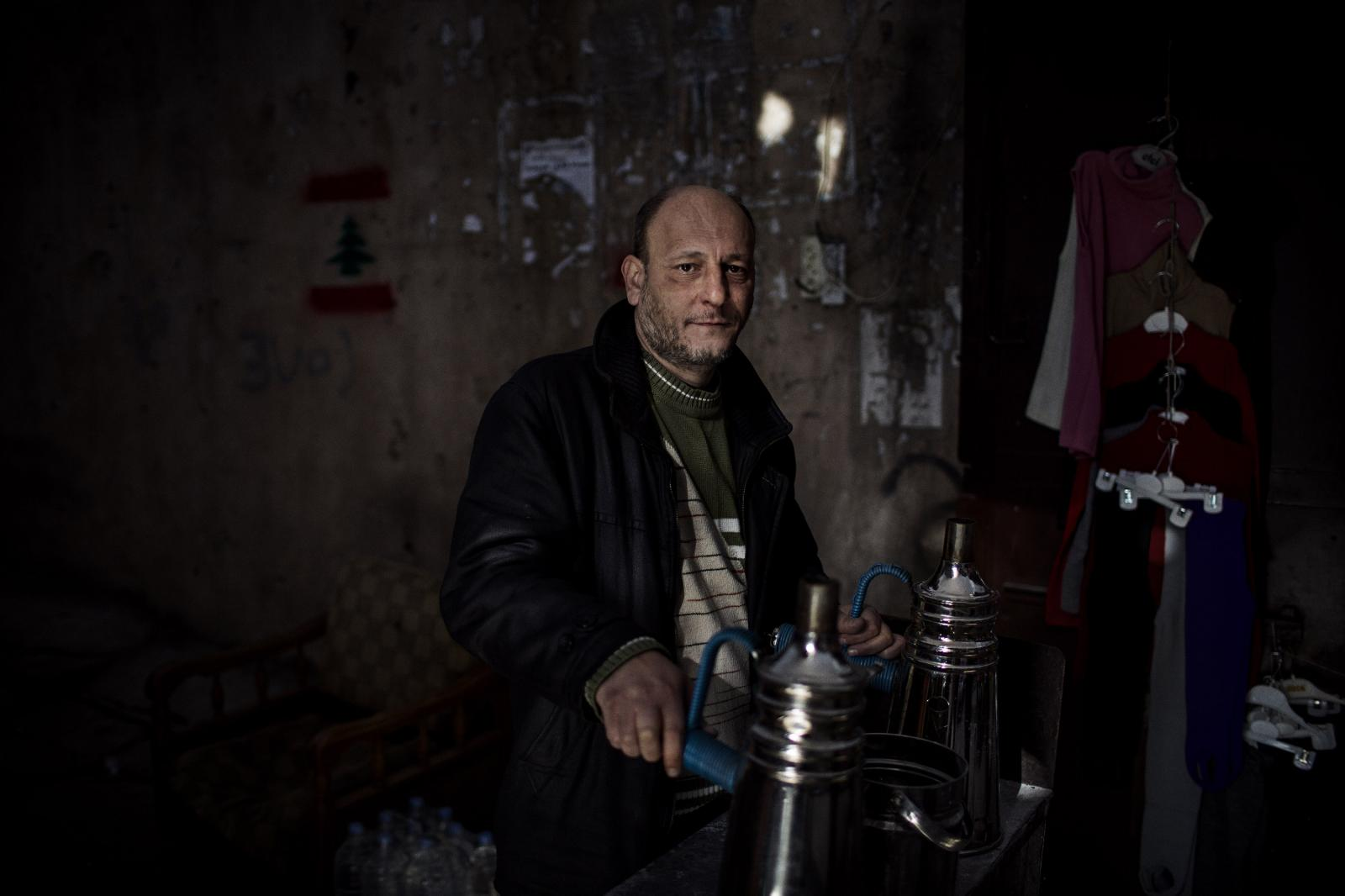 """Khaled el-Mufdi, a coffeemaker: """" I started making coffee a year ago. The economic situation is very bad. It's been gone from bad to worse in the past three months. Could it get worse than this? All of these politicians needs to go. New, good people need to come in. I have no hope. If I'm honest I have no hope. Tripoli. Lebanon. December 11th, 2019. Diego Ibarra Sánchez for CNN"""