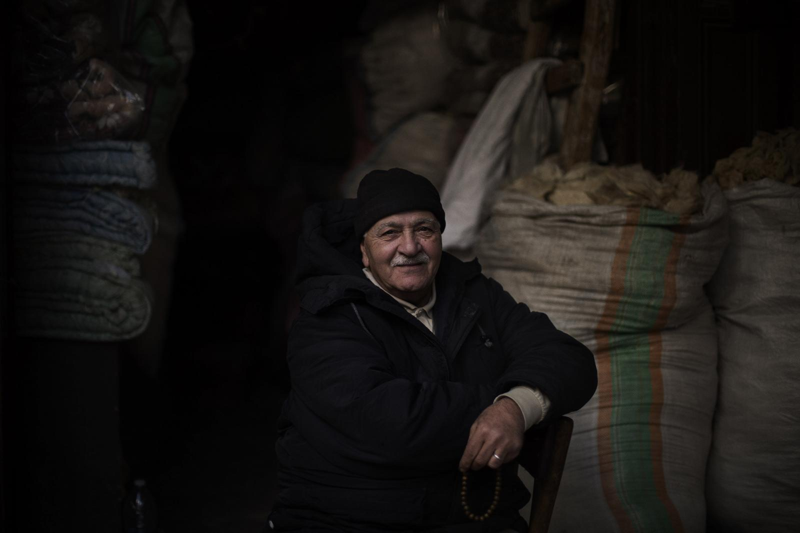 """Lababidi abu Issam: """"I have no income. We rely on god. The situation isn't going to get better. My business is dead. They see us as artisans/heritage. Still we live. We're able to teach our kids, we've let them get to nice positions. People survive here because they help each other"""" Tripoli. Lebanon. December 11th, 2019. Diego Ibarra Sánchez for CNN"""