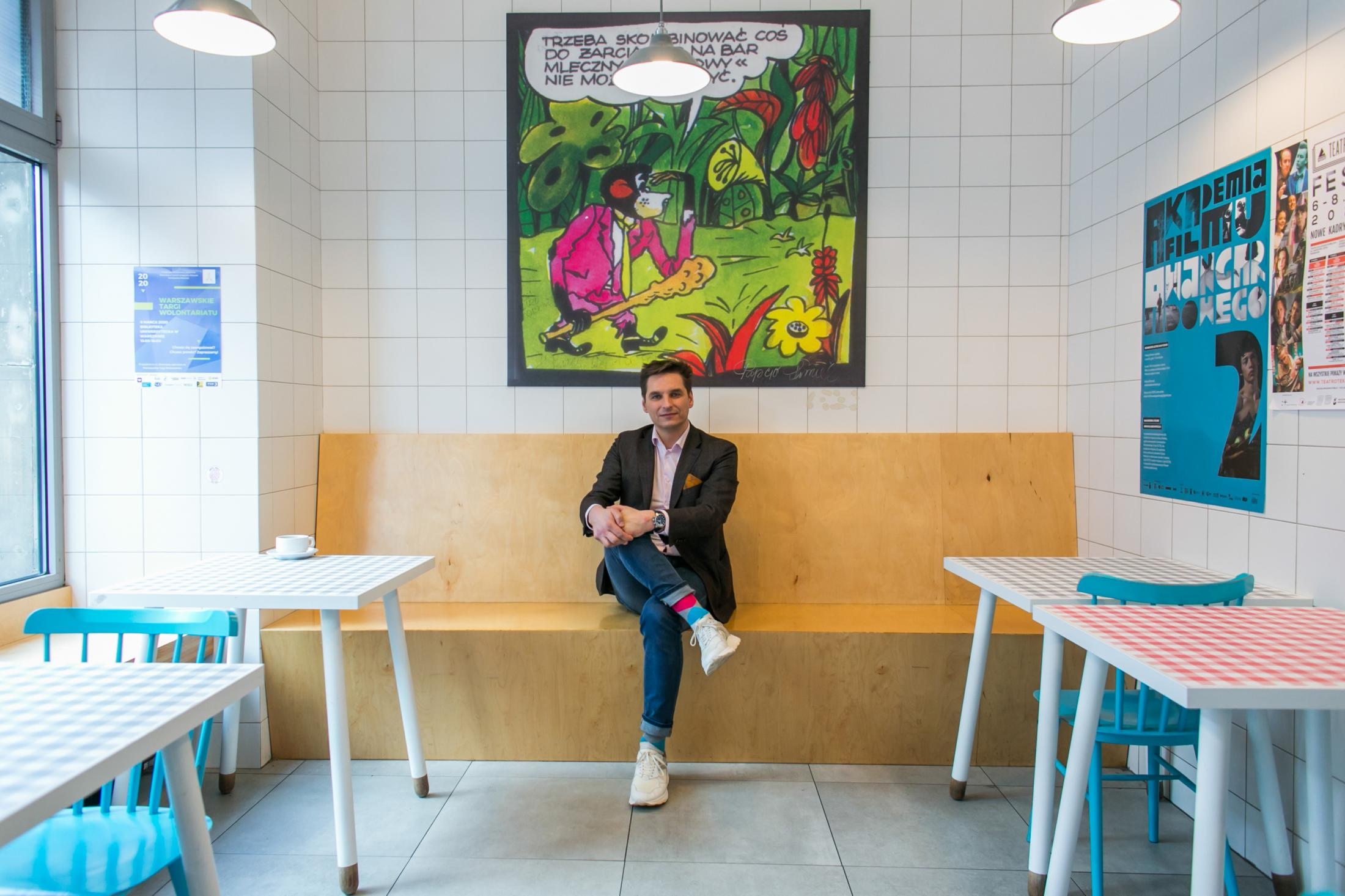Kamil Hagemajer- owner of the Milk Bar Prasowy in Warsaw. Portrait for The New York Times
