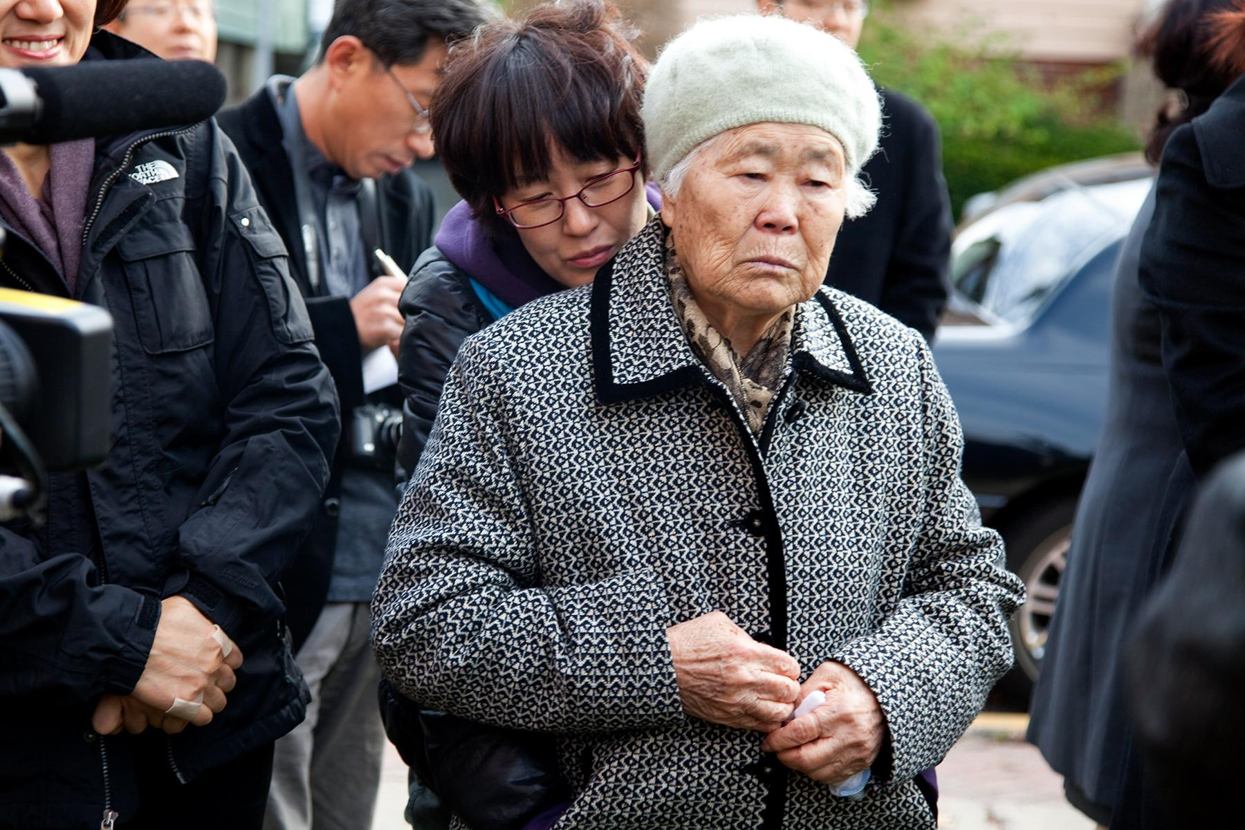 "Lee Ok Seon Halmoni at the first ""comfort women"" dedication ceremony, Palisades Park, NJ, 2011"