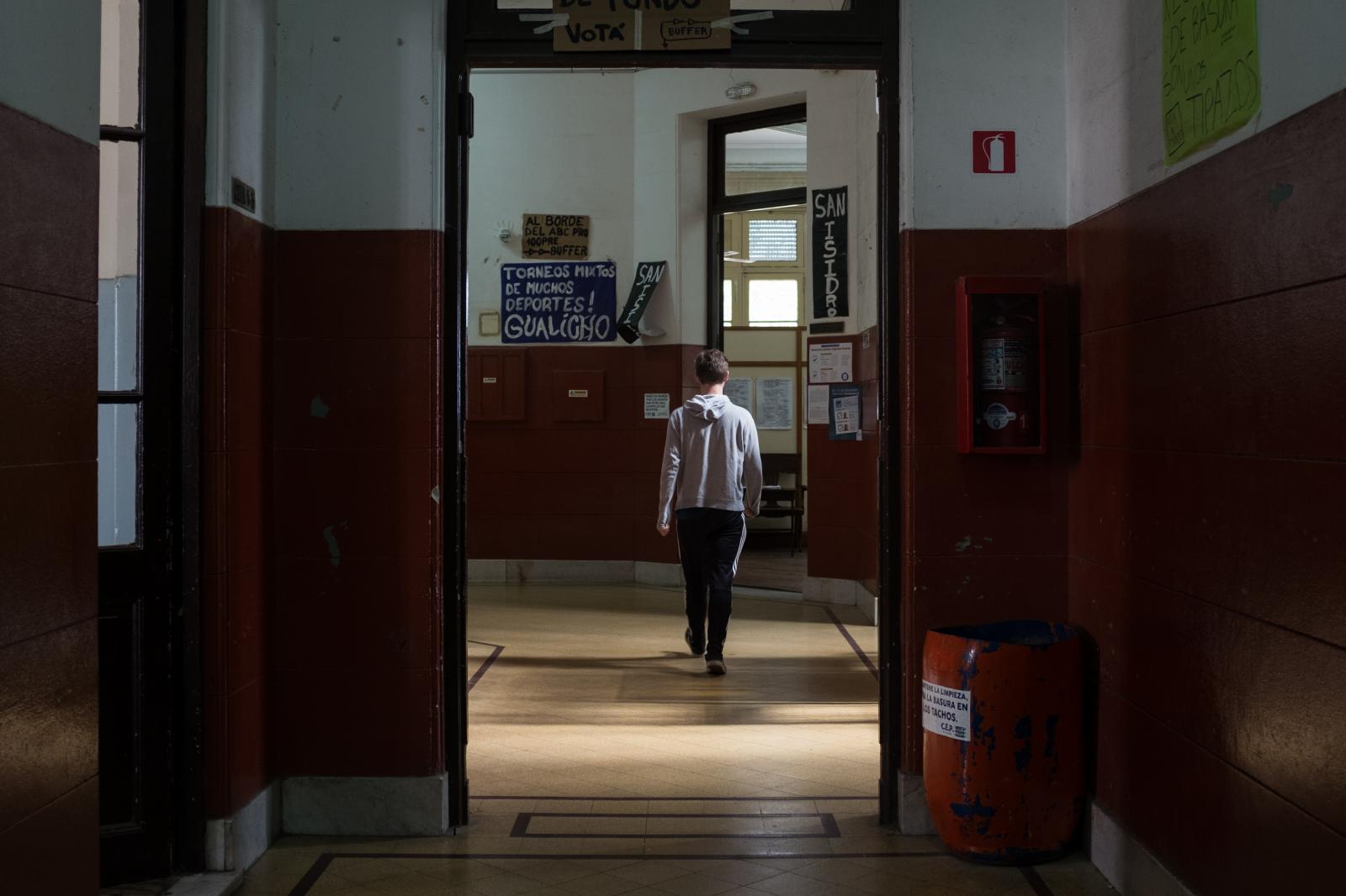 A student walks in Politecnico Superior General San Martin. Rosario, Argentina, November 2nd 2017. Erica Canepa for The Wall Street Journal