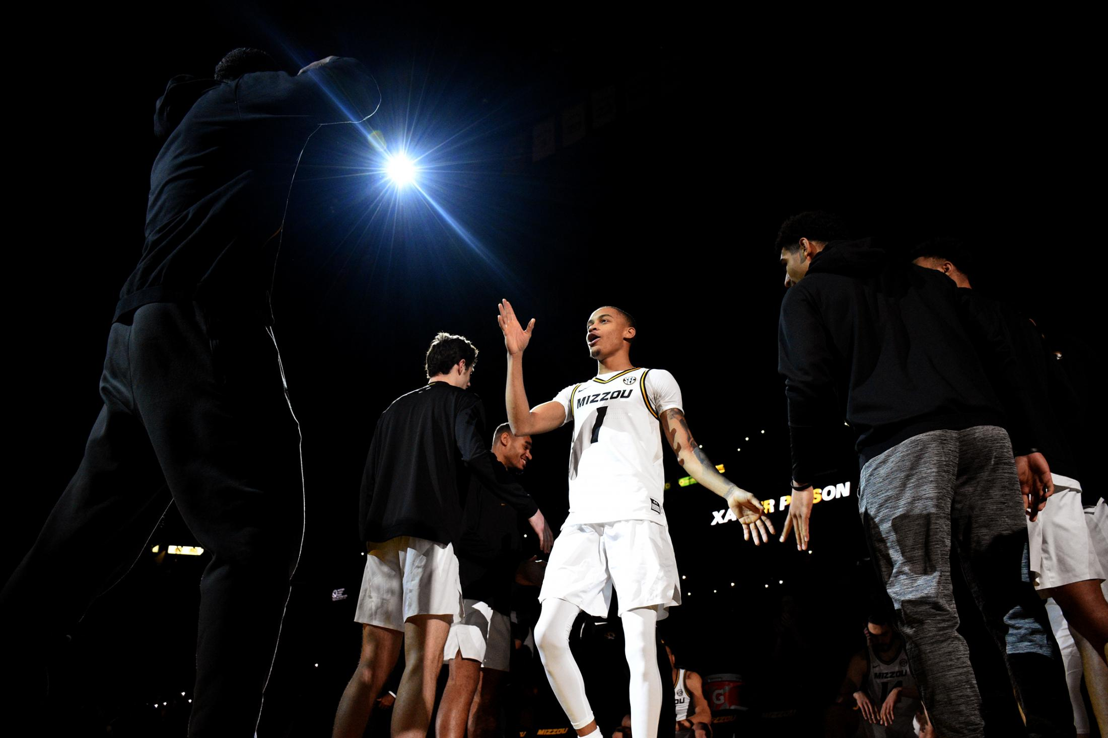 Missouri point guard Xavier Pinson walks onto the court before the Tigers game against Ole Miss on Tuesday, Feb. 18, 2020, at Mizzou Arena. Pinson had a career-high 32 points in their win, 71-68.