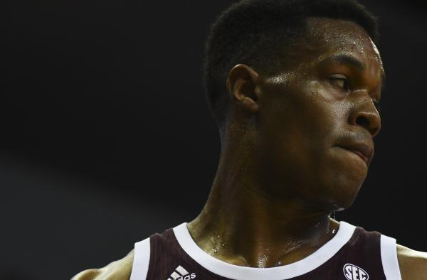 Mississippi State's Robert Woodard II walks back on the court on Saturday, Feb. 29, 2020, at Mizzou Arena. Woodard scored seven points on the game and pulled down five rebounds.
