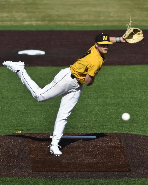 Missouri's Konnor Ash throws a pitch against Western Illinois on Saturday, March 7, 2020, at Taylor Stadium. In 2019, Ash posted single-season career-bests in wins (2), ERA (4.19), innings pitched (53.2) and strikeouts (63).