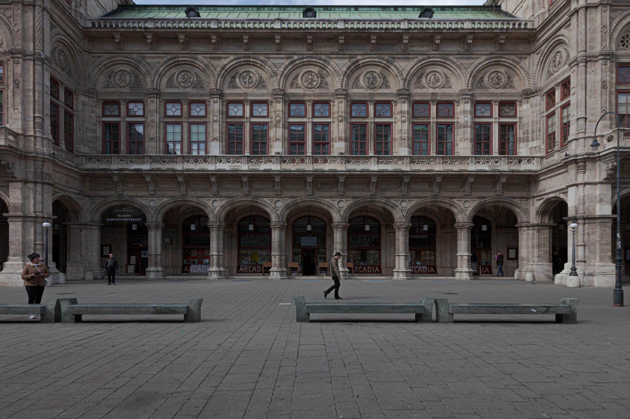 Empty Herbert von Karajan Platz in Front of Opera, Vienna, March 14, 2020