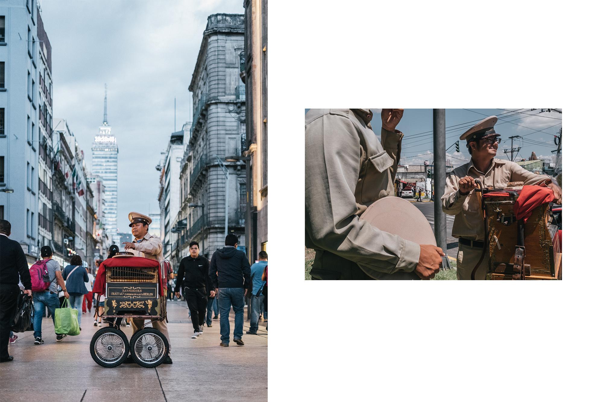 Alejandro Carillo and Jesus Tadeo Tepozotlan, barrel organ players. Mexico City, October 2019.