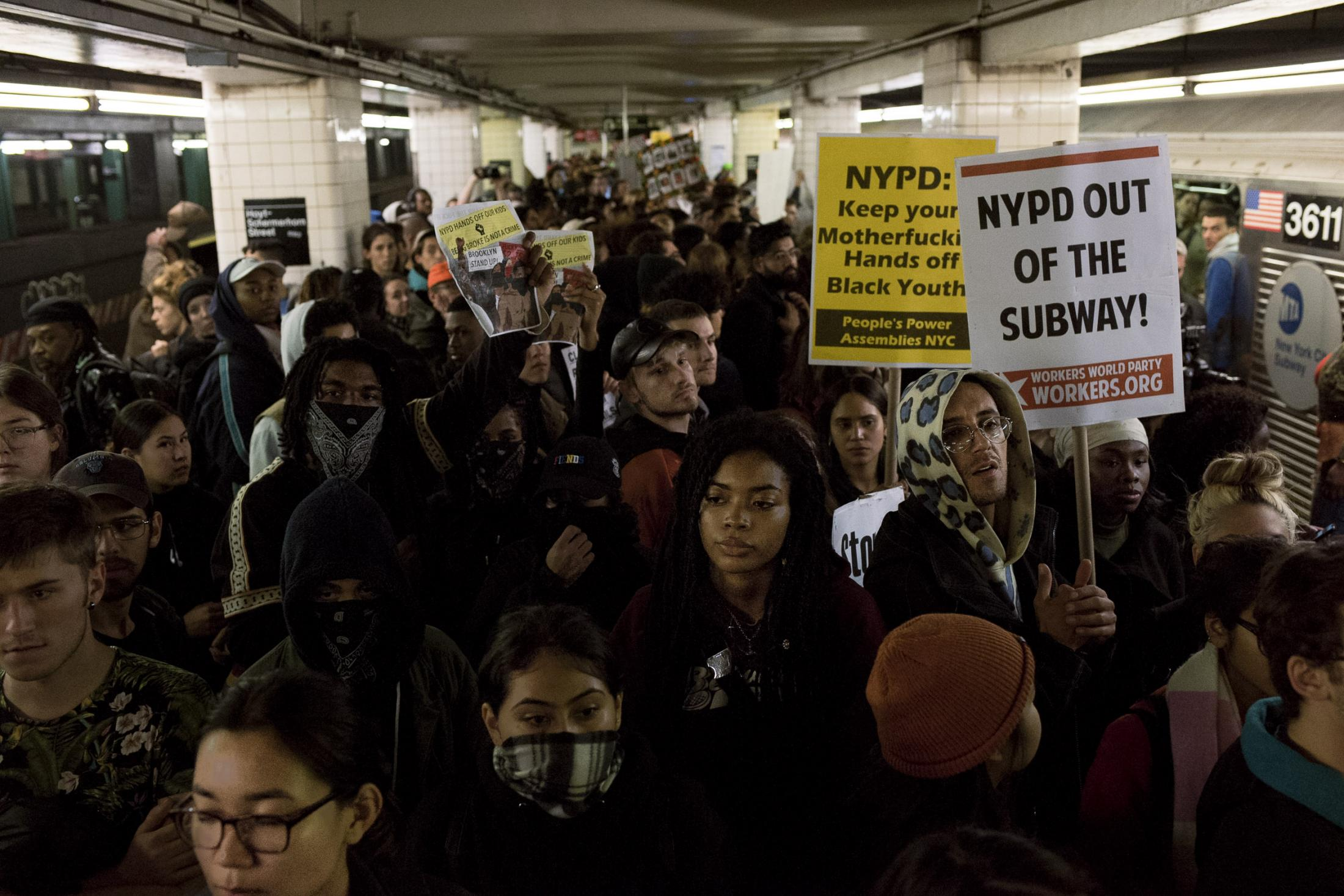 Hundreds of people filling up the platforms of Hoyt station in downtown Brooklyn, waiting for new trains to come to delay the service as a form of protest. Brooklyn, NY. November 2019