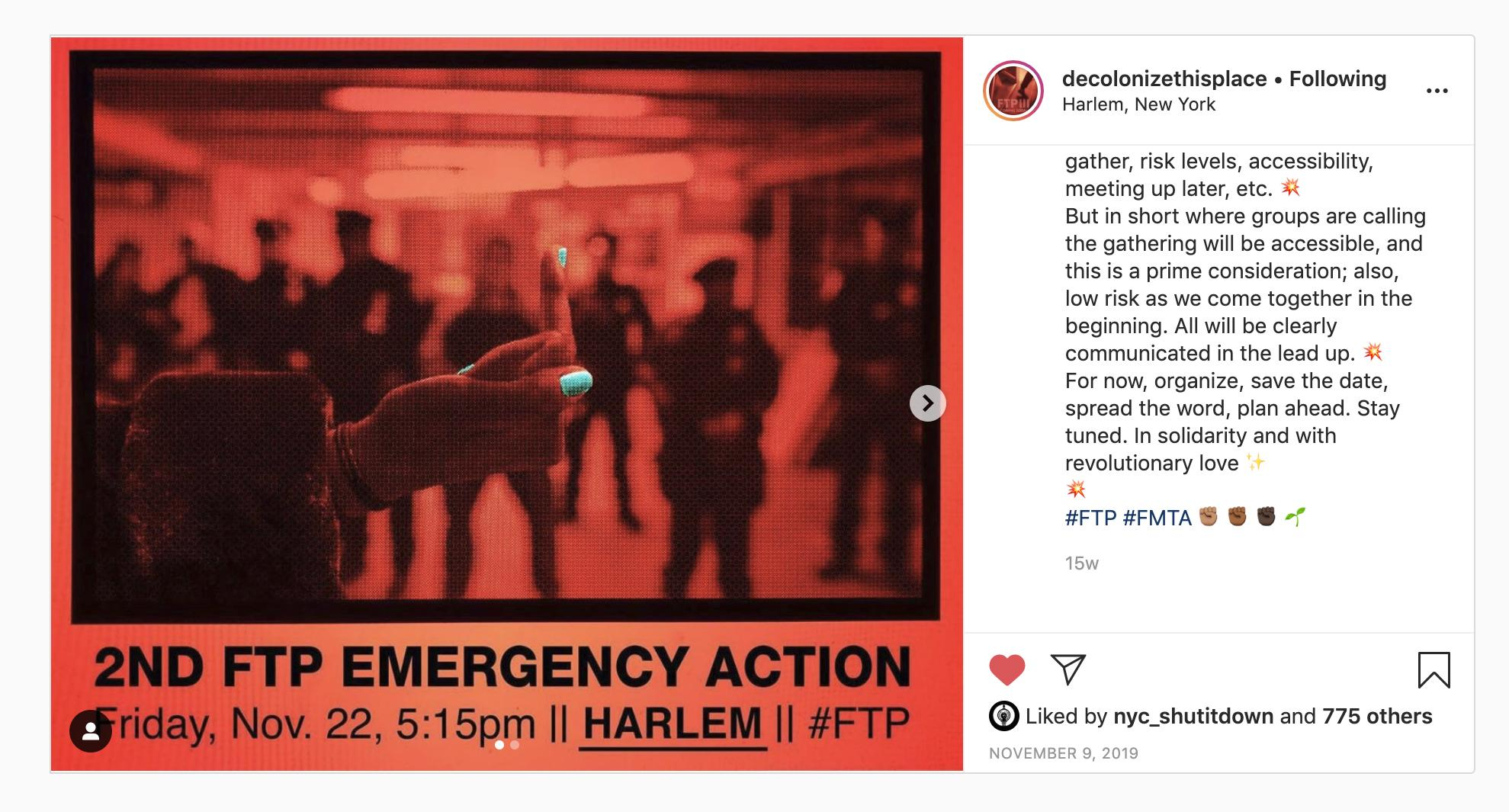 bonus: Screenshot of the Instagram account of the activist group Decolonize This Place, which shows one of the photos from this reportage being used to create propaganda for a second public intervention. source: https://www.instagram.com/decolonize.this.place/