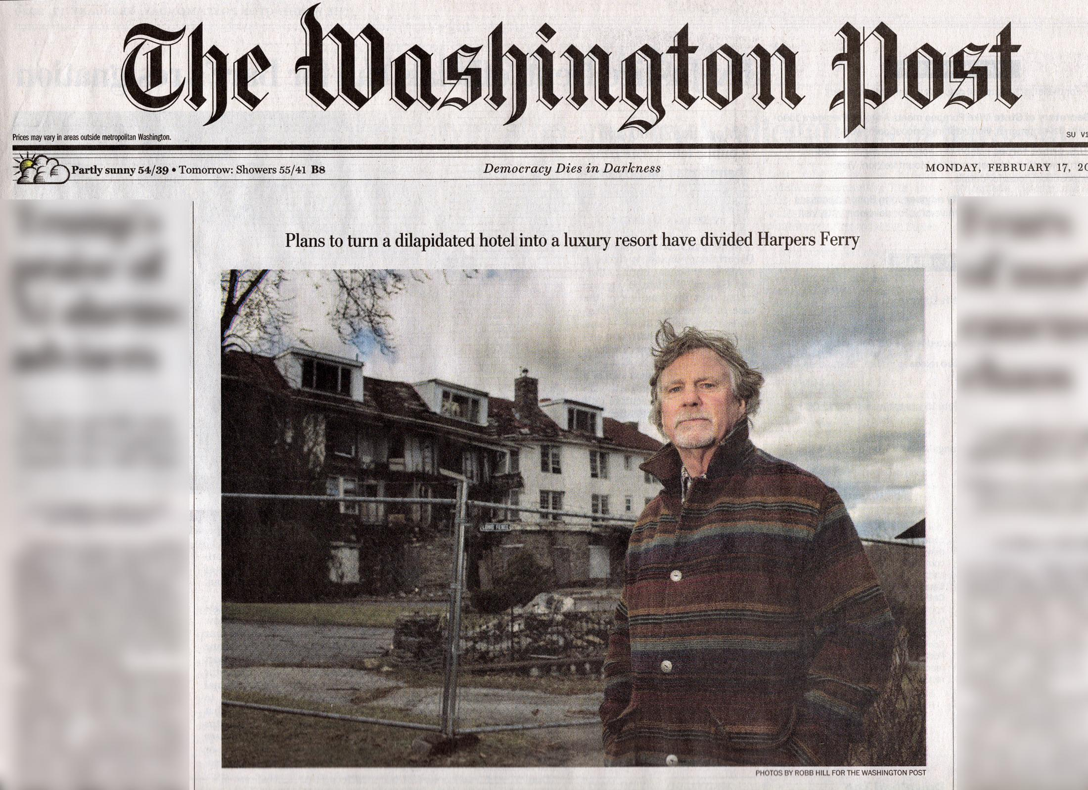 HARPERS FERRY, WV - FEBRUARY 7: Harpers Ferry Mayor Wayne Bishop in front of the remains of the current Hilltop House Hotel. How to redevelop the site has caused a great deal of controversy in the town. (Photo by Robb Hill for The Washington Post)