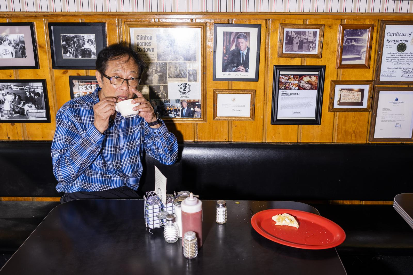 Hamburg Inn owner Michael Lee eats egg drop soup prepared by one of the cooks at Hamburg Inn in Iowa City, Iowa on Tuesday, August 20, 2019. KC McGinnis for Buzzfeed News