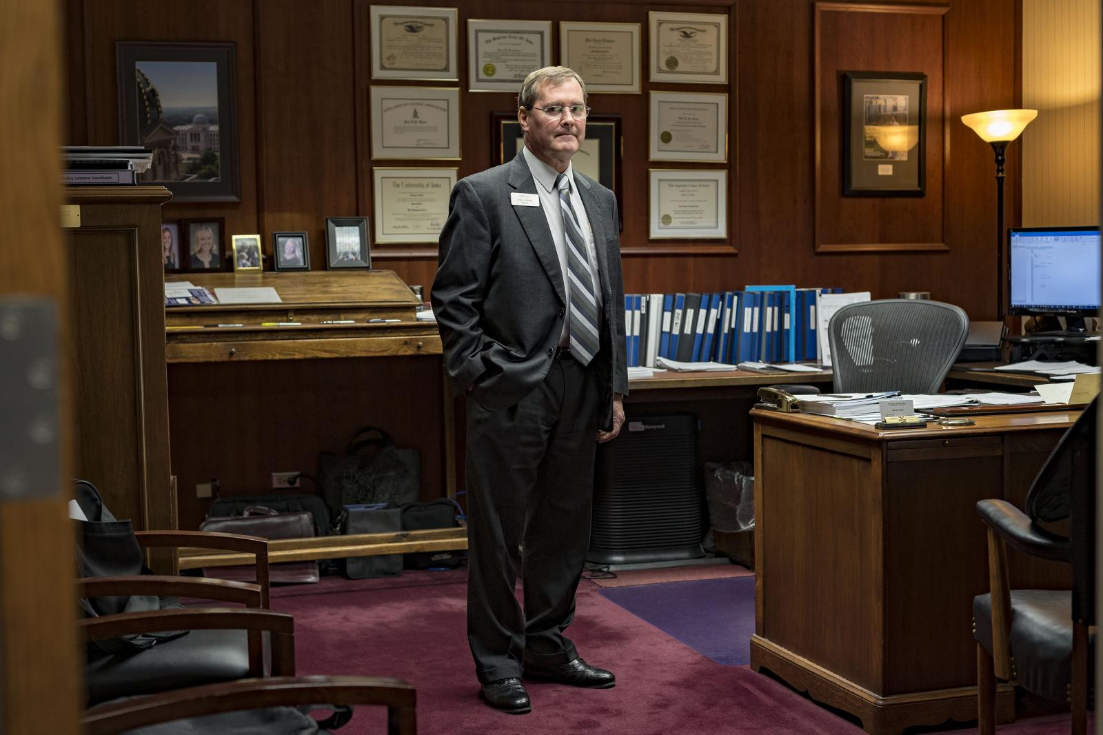 MARSHALLTOWN, IA - DECEMBER 5: Mayor Joel Greer of Marshalltown, Iowa stands in his office on Wednesday, December 5, 2018. A review by The Post of Acting Attorney General Matthew G. Whitaker's statements and actions as US Attorney for the southern district of Iowa from 2004 to 2009 found that Whitaker claimed credit for initiating a six-state raid in 2006 that was designed to be on the largest such crackdowns at the time. (Photo by KC McGinnis/For The Washington Post)