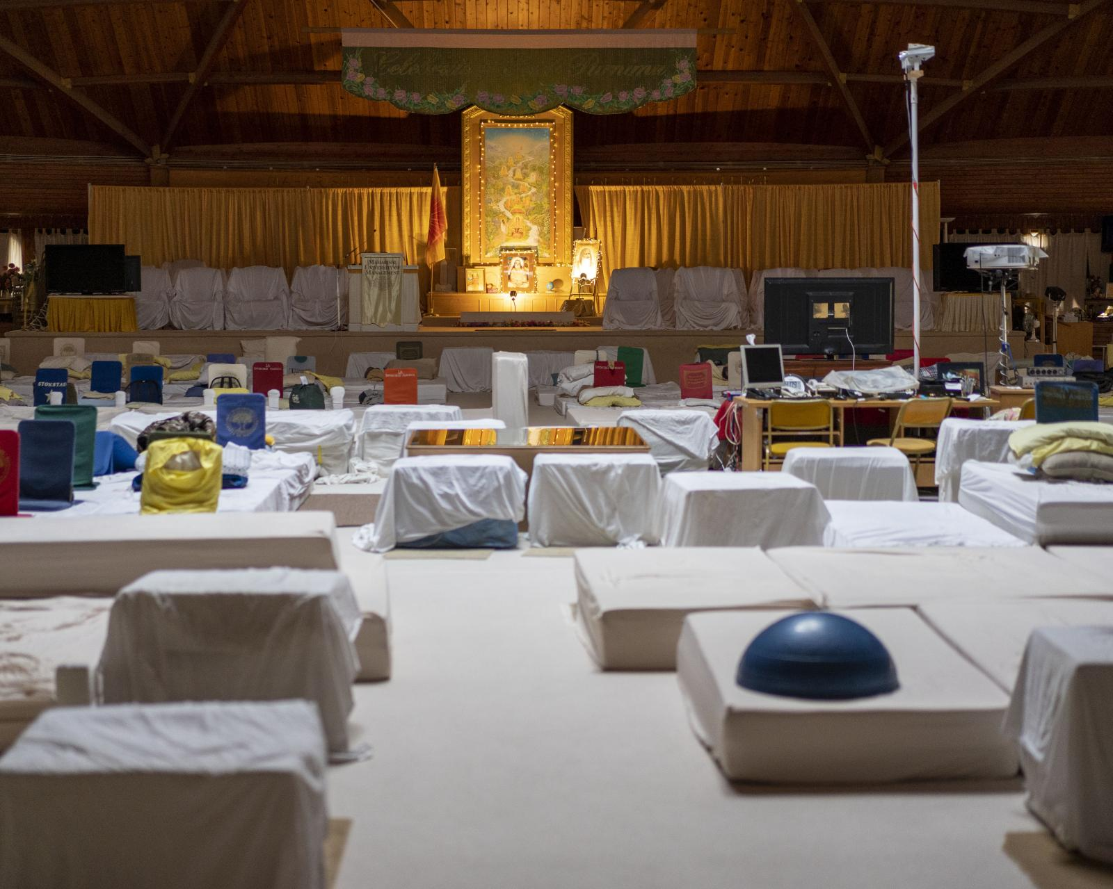 The interior of the men's meditation dome on the campus of the Maharishi University of Management in Fairfield, Iowa on Saturday, September 21, 2019. KC McGinnis for Politico Magazine