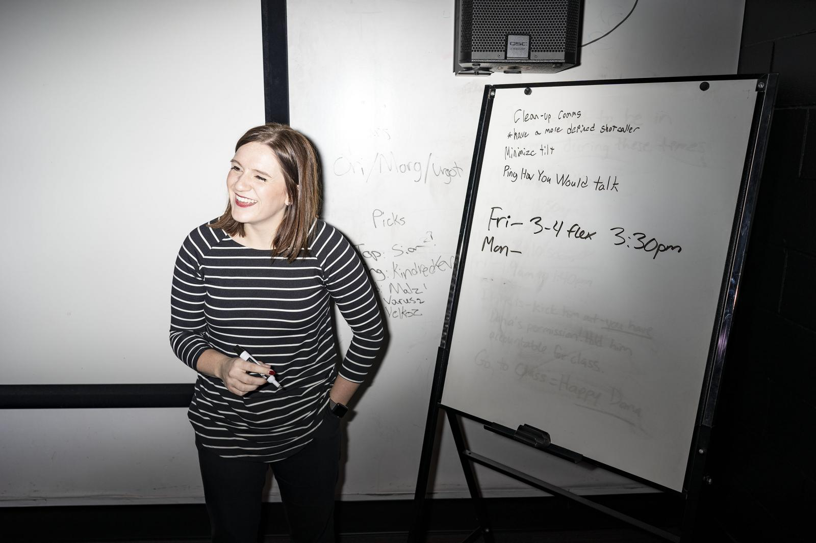 DES MOINES, IOWA - OCTOBER 18, 2018: Dana Hustedt goes over coaching notes with Grand View University's esports team in Des Moines, Iowa on Thursday, October 18, 2018. Hustedt is the nation's first university Director of Esports. CREDIT: KC McGinnis for The New York Times