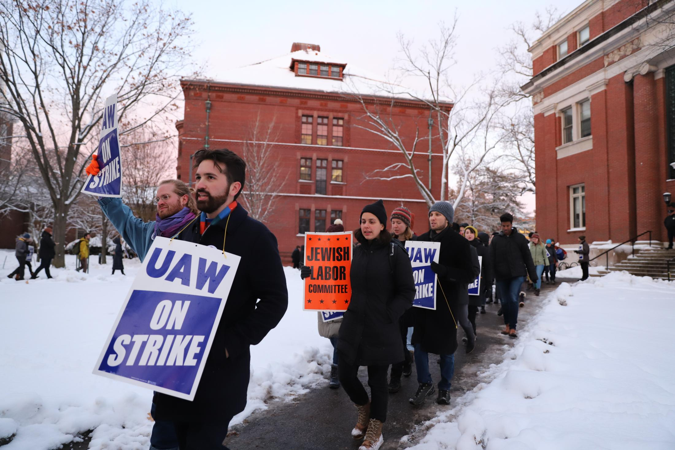 On the first evening of the Graduate Student Union Strike in December 2019, protestors picketed until sunset, encircling Emerson Hall while a faulty meeting went on inside.