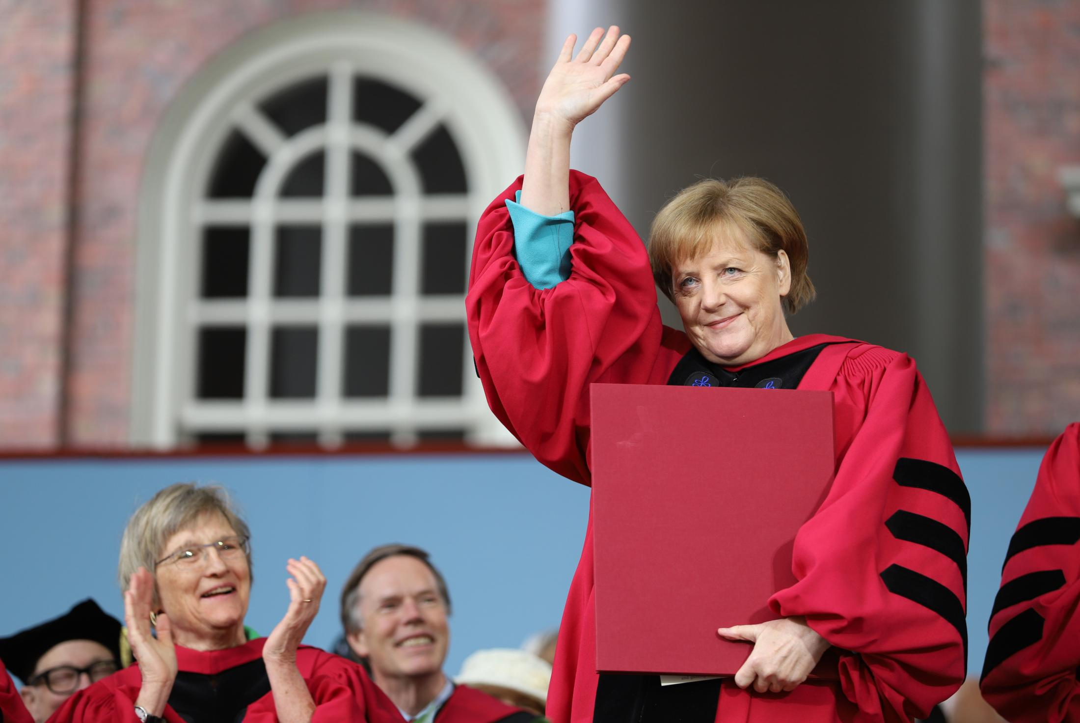 German Chancellor Angela Merkel received an honorary degree from Harvard during the morning exercises at Harvard's 368th Commencement ceremony.