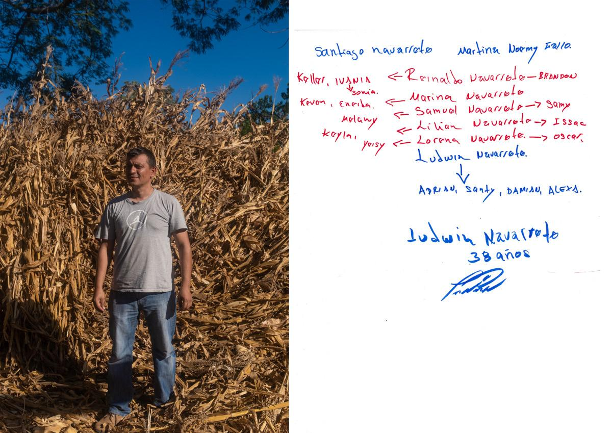 Ludwin Navarrete, 38 years old. His brothers are all in the US, but he never desired to move there. He beleive on his land and on the work in can do here. Here, he is posing in his farm. Family tree hanmade by the protagonist. In red, people's name who live in the US and in blue, the ones who live in El Salvador. February/March 2019. Intipuca, El Salvador.