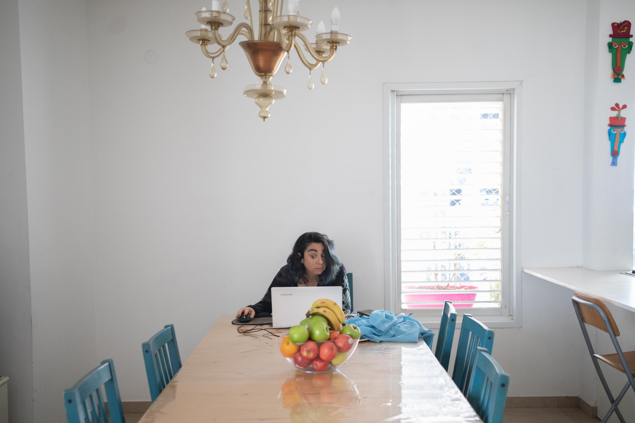 """Theatre director Yael Bartenosh, 43, gives an online theatre lesson for children on Zoom in her home in Rehovot, Israel, April 28, 2020. """"I closed my adults' group, because on Zoom it wasn't teaching theatre, it was just like teaching acting in front of a camera. And it wasn't what I wanted. But for the children I felt they need me as much as I need them. So I began to do more things that are fun and short, because online they don't have the attention."""""""