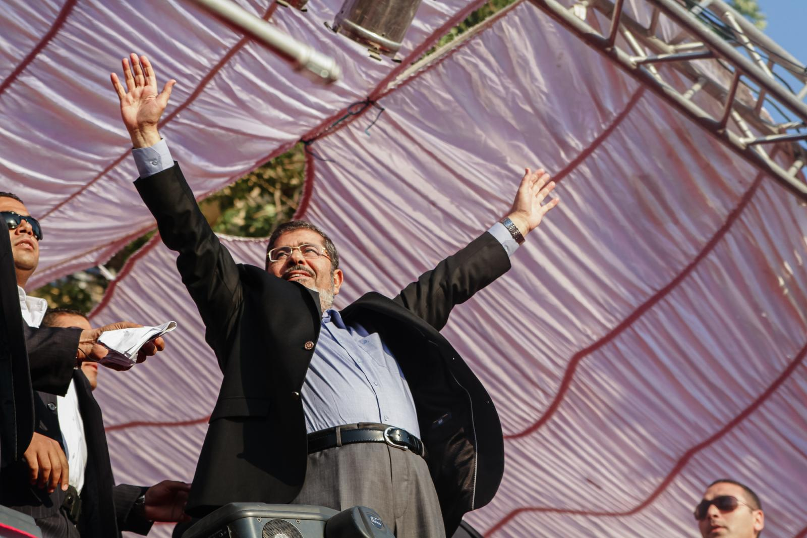 Mohamed Morsi gives his first speech as newly elected president at Cairo's Tahrir Square in Egypt on June 29, 2012.