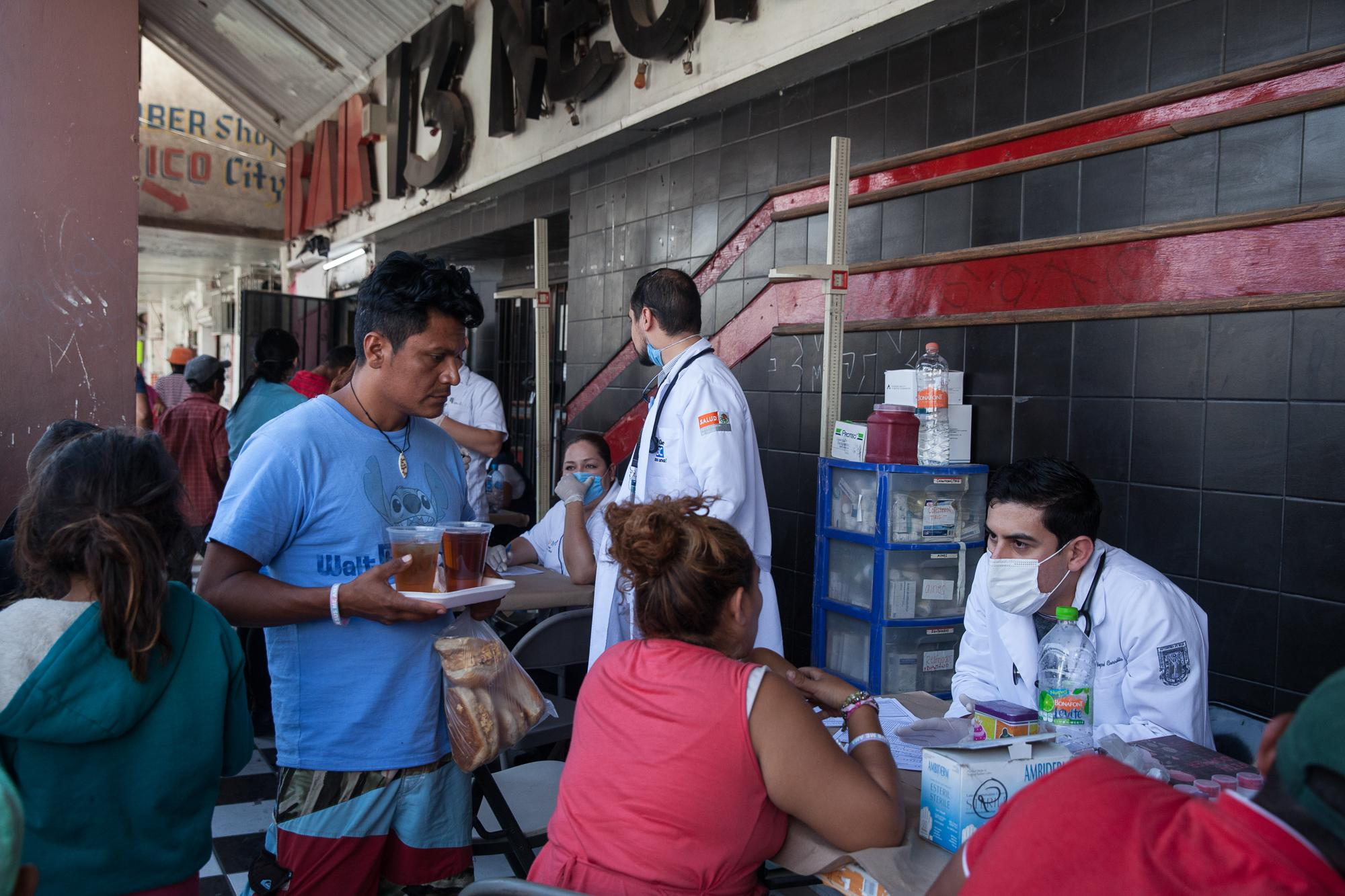The caravan traveling through Mexico with migrants from Central America stopped in Mexicali, MX, for about two hours. Medical professionals were available to help in front of Hotel Del Migrante if anyone needed medical attention or had questions about their health on April 24, 2018.
