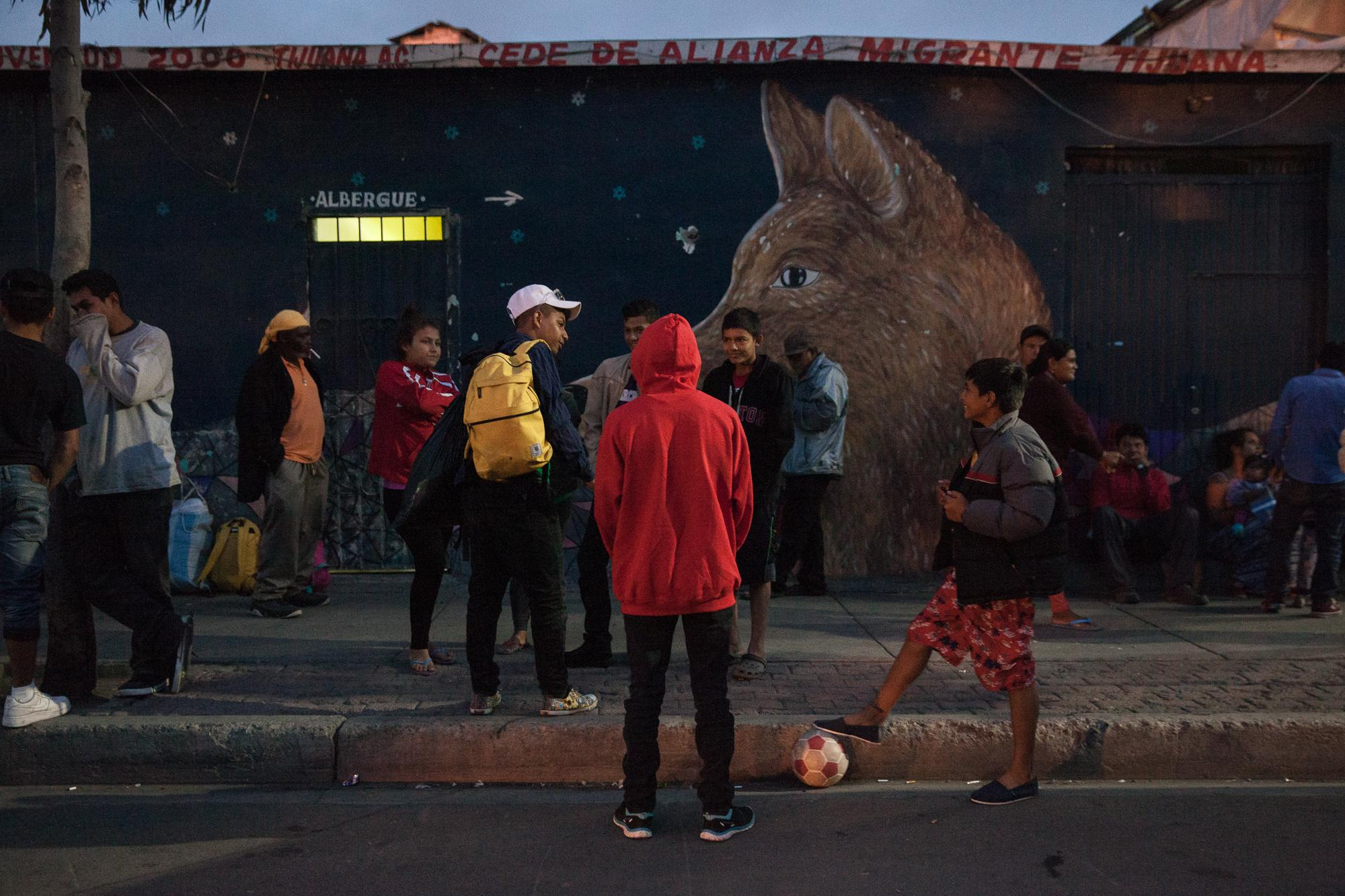 In front of Juventud 2000 shelter in Tijuana, MX, on the edge of the red-light district.