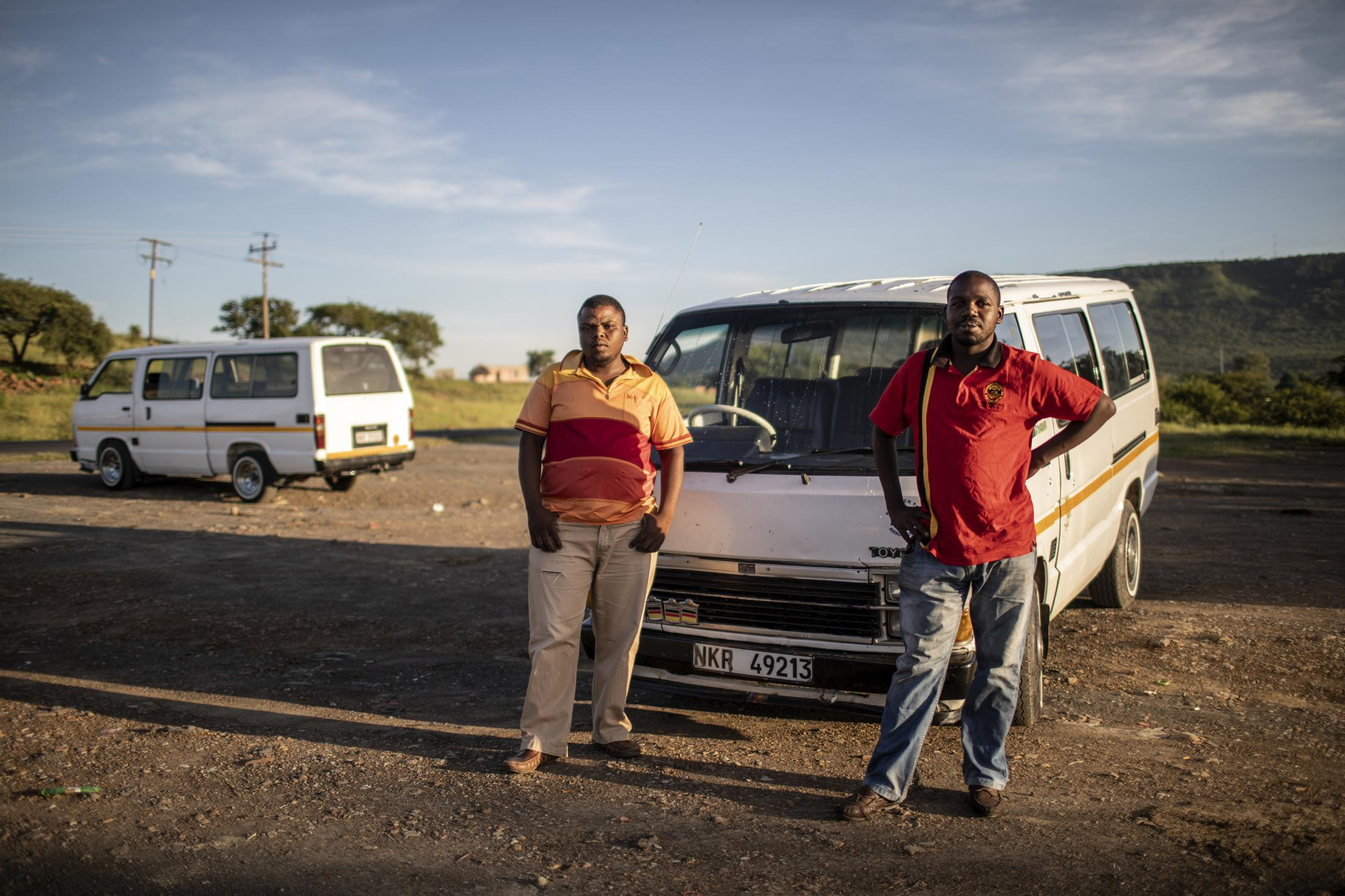 16 February 2020: Taxi drivers Sakile Hlubi (30) and Mandla Hlatshwayo (27) wait to do their next round of driving to pick up and drop off workers early in the morning in Ezakheni, Ladysmith, Kwa-Zulu Natal. They tell of how Joseph Shabalala and the music of Ladysmith Black Mambazo made them proud to be from the town.