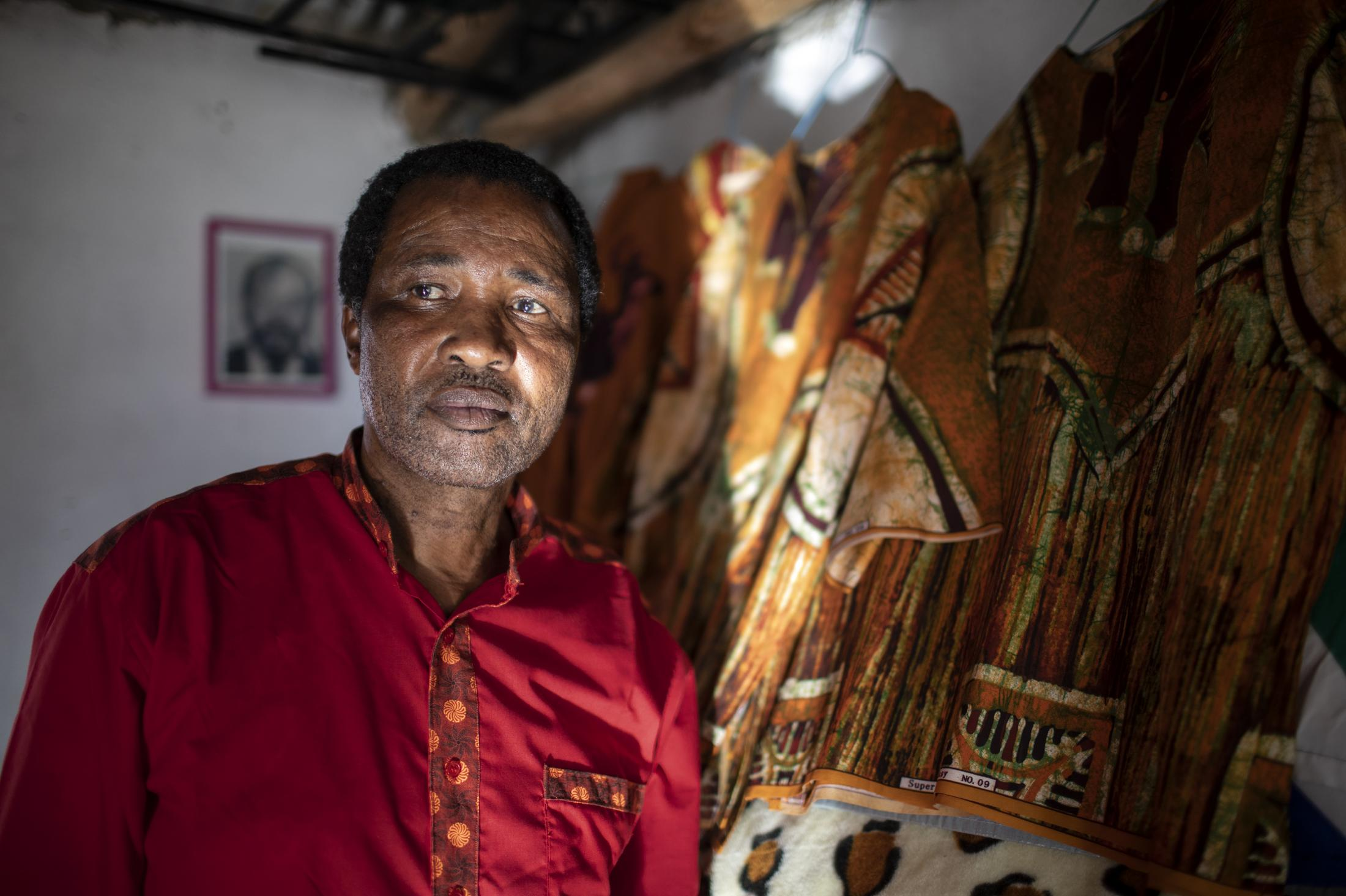 17 February 2020: James Vilakazi (58) is pictured in his home in Watersmeet, Ladysmith, Kwa-Zulu Natal. He first joined the Morning Stars and then the Ladysmith Red Lions in 1982 and has been performing Isicathamiya for 12 years.