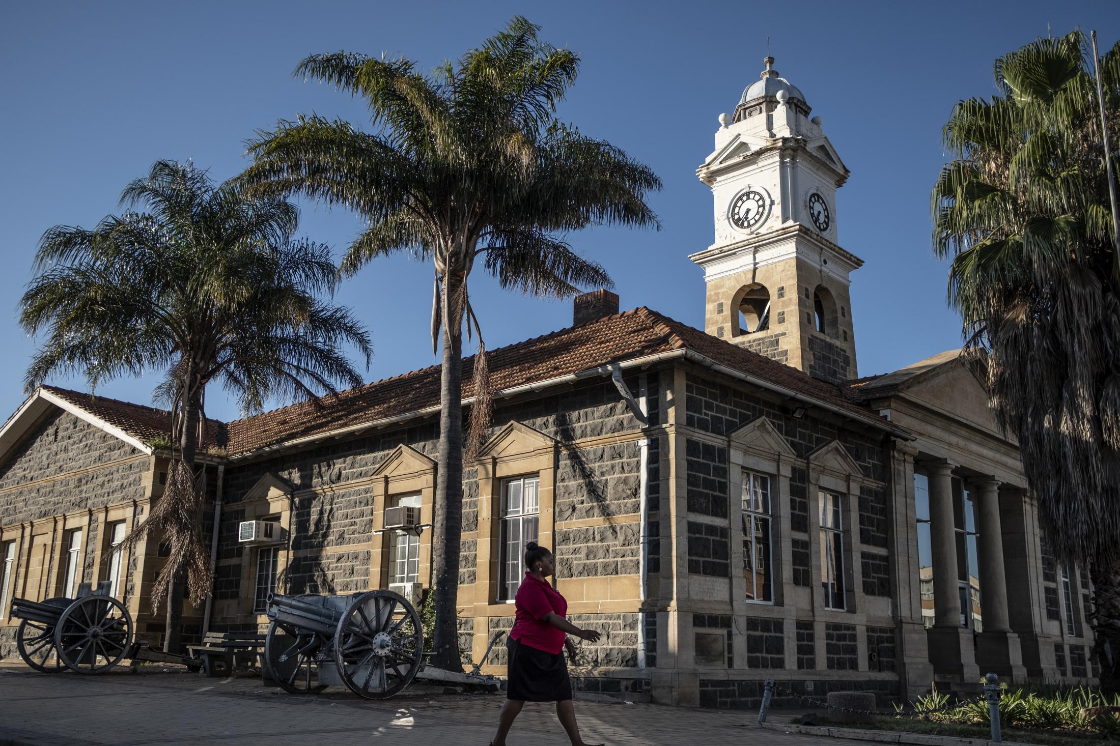 16 February 2020: The Town Hall is surrounded by canons from the Anglo-boer wars which was fought in the in Ladysmith, Kwa_Zulu Natal.