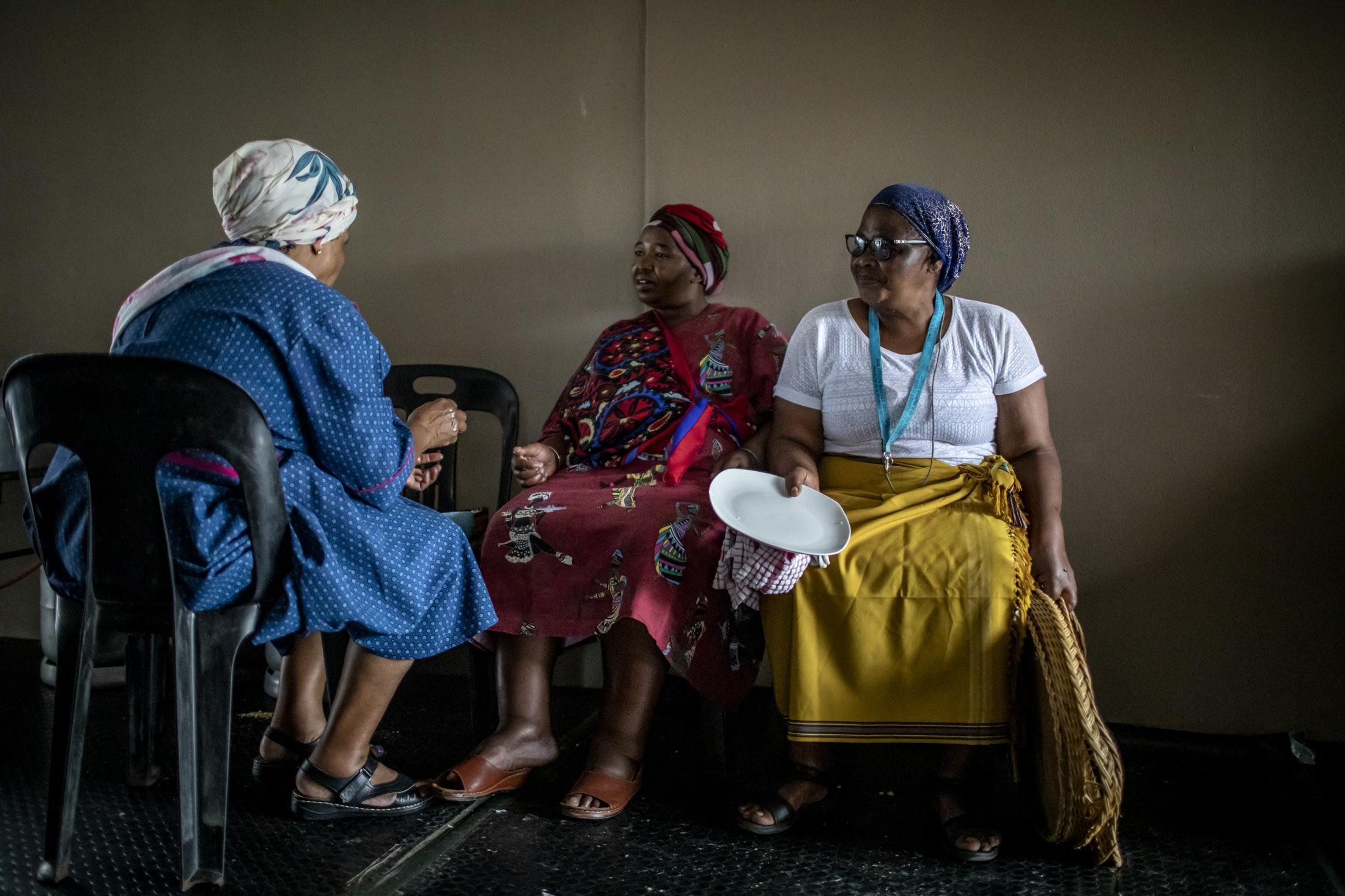 18 February 2020: Women are seated at the Shabalala household after the memorial service for Ladysmith Black Mambazo founder Joseph Shabalala in Ladysmith Kwa-Zulu Natal.
