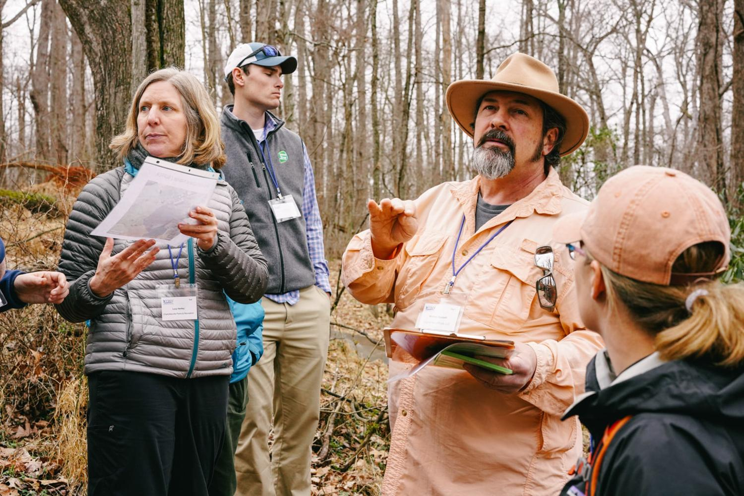 Mike Hayslett lecturing on the vernal pools of Sweet Briar College, 2020
