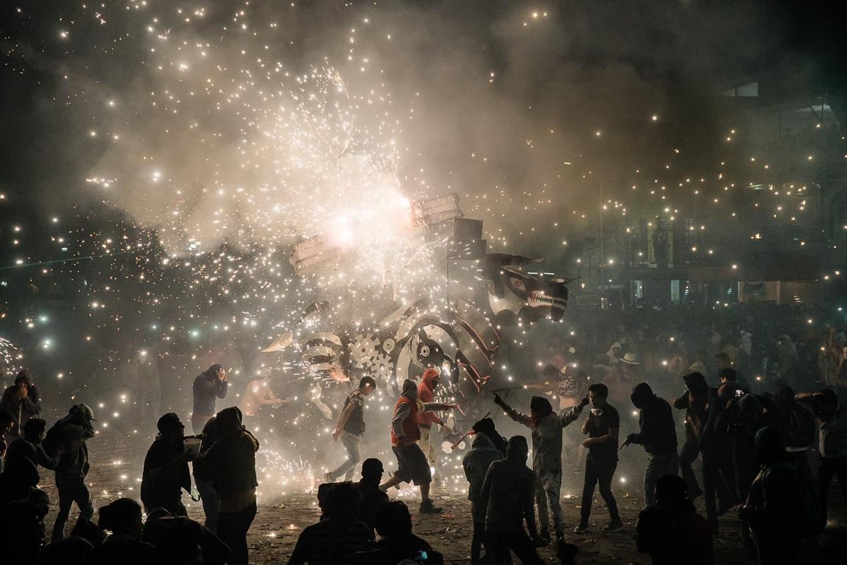 Every year people gather in Tultepec, Mexico for a week long   celebration of San Juan de Dios a patron saint of fireworks. The   festival consists of the Castles of Fire and the Burning of the Bulls.   The bulls are made out of papier-mâché with fireworks shooting out of it  going in different directions.