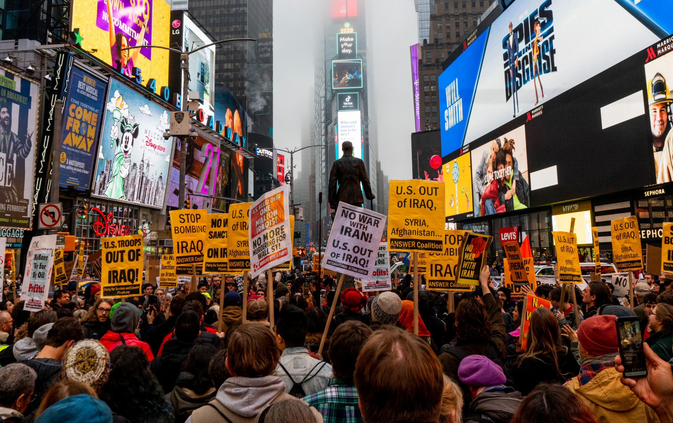 Hundreds of protestors gathered during the anti-war with Iran rally at Times Square in New York, NY. Qassem Soleimani, the head of Iran's military force, was killed early Friday in a U.S. airstrike in Baghdad.