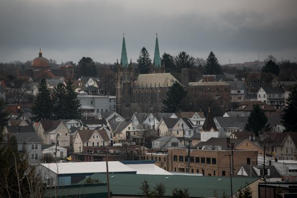 The town of Hazleton, PA can be seen a parking lot in the west end in Hazleton, PA. on Saturday, April 18, 2020. Hazleton has been hit the hardest with the coronavirus in Pennsylvania. Hannah Yoon
